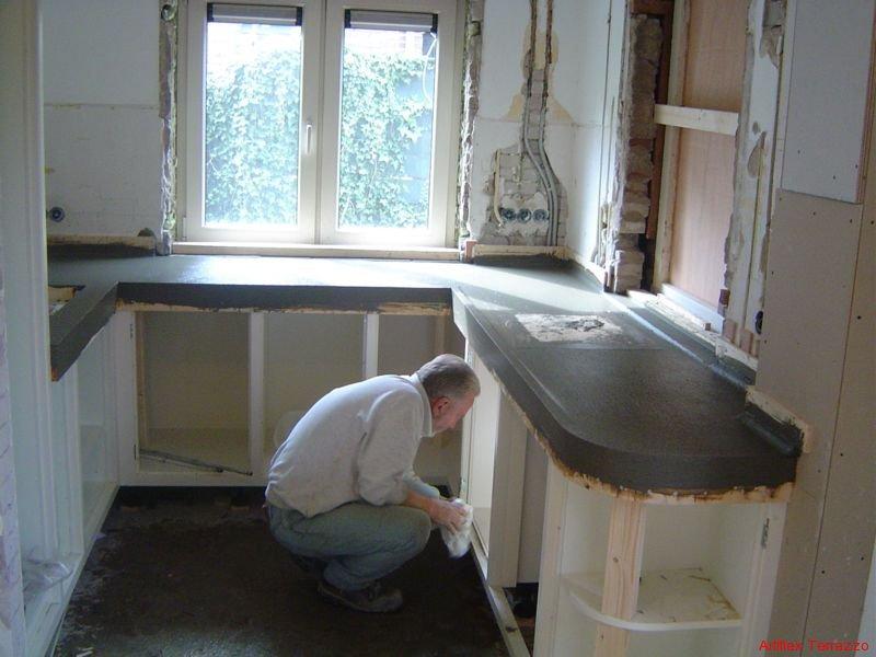 terrazzo aanrechtblad repareren mdf lakken hoogglans. Black Bedroom Furniture Sets. Home Design Ideas